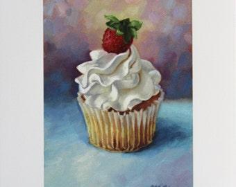 Cupcake painting - Art print - Birthday - cupcake art - dessert art - kitchen art - Open edition print