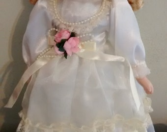 Porcelain Doll White Gown Pink Flowers Blond Blonde Hair Blue Eyes Vintage Little Girl Dream Toy Collecible
