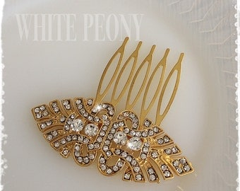"""1920s Art Deco Great Gatsby Inspired Crystal Gold Hair Comb-Vintage Wedding Hair Accessory-Downton Abbey Yellow Gold Hair Comb-""""JULIET gold"""""""