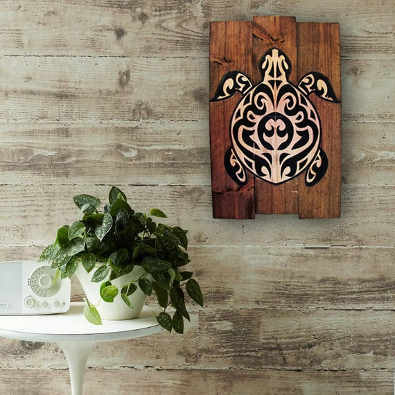 Wood Wall Art Hawaiian Sea Turtle On Wood Home Decor Rustic