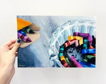 Digital Giclee Art Print / Smoking Crayons Ash Tray / 8 x 10 11 x 14 16 x 20 Acrylic Painting / Wall Art Decor