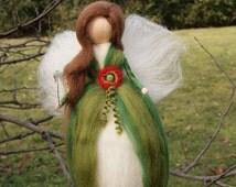 Poppy fairy, Wool Fairy, needle felted fairy, Waldorf fairy, Waldorf felted doll, Waldorf Inspired Wool Fairy, Waldorf Nursery Decor
