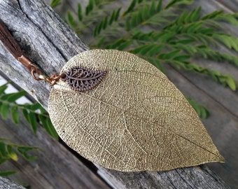 Real leaf pendant, Real Leaf necklace, Gold Leaf pendant, Natural gold Leaf, Gold dipped leaf, Real leaf jewelry, Gold leaf necklace