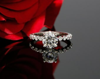 7.0mm Forever Brilliant Moissanite Solitaire Engagement Ring with Diamonds in 14k White Gold (avail. in rose, yellow gold and platinum)