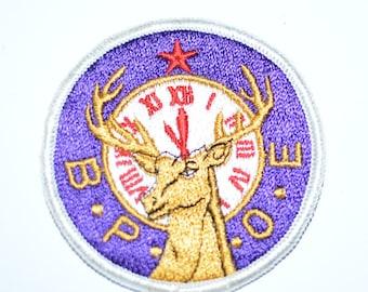 BPOE Elks Lodge - Vintage Sew-On Embroidered Patch - RARE Gold Elk Design - Benevolent Protective Order of Elks Jacket Patch Hat Patch e14h