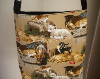 "Handbag ""Farmyard Friends"" with long adjustable strap . Fully lined with 3 internal pockets.  Loads of features"