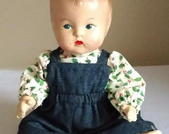 """Vintage 9"""" Composition Baby Doll, Unmarked, Painted Facial Features"""