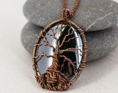 Tree of life necklace Hematite black necklace Wire wrapped pendant Copper jewelry Yoga charm necklace Mothers day gift for daughter necklace