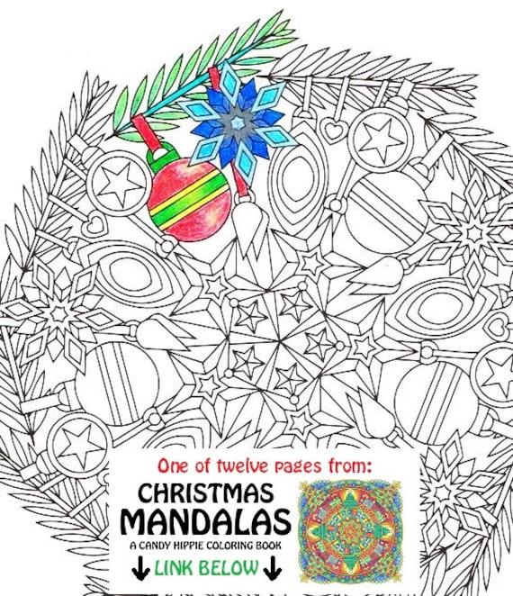 Christmas Mandala Coloring Page Ornaments printable