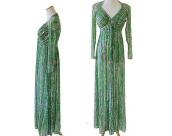 Deep V-Neck Sheer Maxi Dress by Robert David Morton