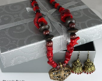 "20"" Unique, Handcrafted necklace set made using Dokra pendant, red corals and wooden beads."