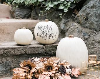 Custom Calligraphy White Craft Pumpkin, Holiday Pumpkin, White Pumpkin Decor