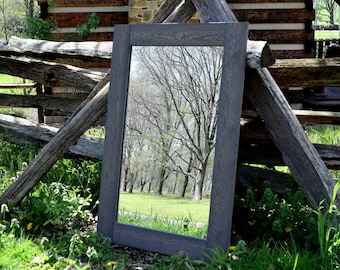 Large Grey Rustic Mirror - Mirrors - Framed Mirrors - Wood Mirror - Rustic Mirror - Bathroom Mirror - Large Mirror - Wall Mirror - Mirrors