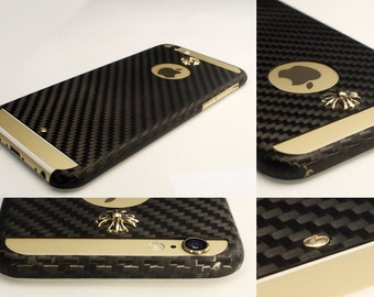 IPhone 6 Carbon Case IPhone 6S Carbon & Gold Hybrid Case Real Carbon Fiber Case Real Gold Elements Case - Bloom Jewellery