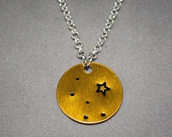 Cassiopeia ~ Bronze ~ Constellation ~ Stamped Metal Necklace