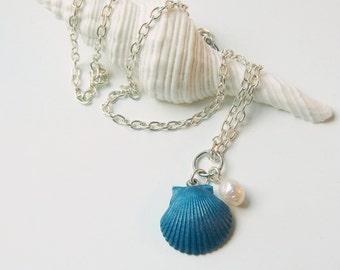 Little Mermaid Shell Necklace Seashell Jewelry Beach Jewelry Real Seashells Beach Necklace Blue Seashell Necklace Scallop Shell Necklace