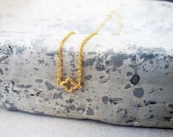 Van cleef Necklace, Gold Sideways Clover Necklace, Four Leaf Necklace, Good Luck Necklace, Lucky Clover,  Tiny Clover necklace Necklace