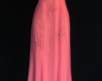 70s Tangerine and Pink Halter Gown                  VG174
