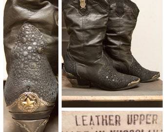 1980's Black Leather Slouchy Western Cowgirl Boots