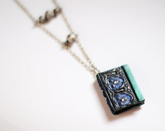Book necklace Book charm pendant Book lover necklace Mini book jewelry Book lover gift Miniature bookish gift Librarian pendant Tiny books