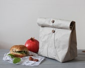 Lunch Bag, grey washable paper bag, simple and elegant food storage, minimalistic, green living, sustainable food storage, reusable