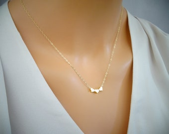 Dainty Three Gold Heart Necklace