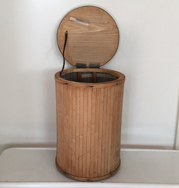Wood garbage can with lid rustic wood trash can hamper - Wooden kitchen trash can with lid ...
