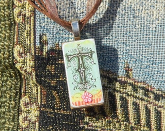 Altered Domino Vintage T necklace - free postage
