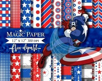 50% OFF SALE Captain America Digital Paper, Avengers, Digital Papers, Clip art Clipart
