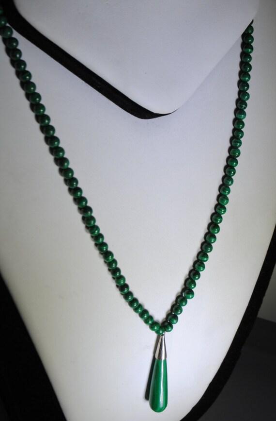 Malachite necklace with drop pendant vintage