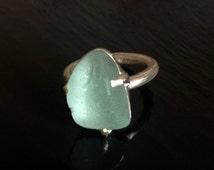 Sea foam sea glass individual silver ring