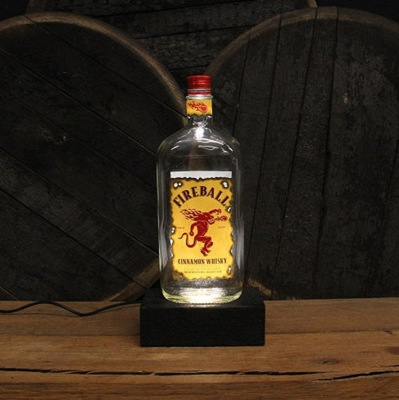 Fireball Whisky Bottle LED Light / Reclaimed Wood Base & LED Desk Lamp / Handmade Tabletop Lamp / Upcycled Bourbon Whisky Bottle Lighting
