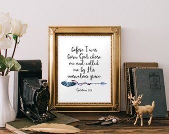 Boy nursery wall art decor, Nursery bible verse, Baby boy nursery art,  Kiss wall art, Arrow art God chose me Christian Galations 1:15 BD902