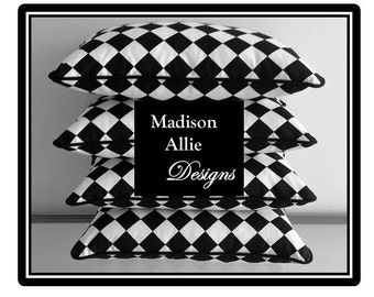 Custom Pillow Cover - Colors - Black and White Diamond