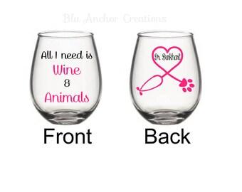 Veterinarian Appreciation Glass, Veterinarian Gift, Vet Gift, Gifts For Veterinarian, Veterinarian Wine Glass, Vet Tech Gift, Vet Student