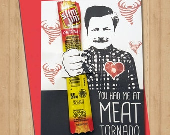 Printable Ron Swanson Valentine - You Had Me at Meat Tornado - Instant Download Valentine Card