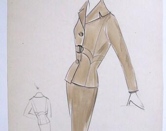 Original 1950s Fashion Illustration Drawing Signed