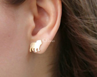 ENGLISH BULLDOG EARRINGS !! cute english bulldog earrings, earrings, gold earrings, animal lovers, dog lovers, Pawies, PawiesAnimalLovers