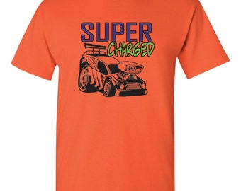 Super Charged Kids T-Shirt/ Dragster/ American Muscle Car/ Muscle Car/ Race Car/Cars/NASCAR/ Stock Car/Drag Racing/Modified Cars/ Top Fuel/
