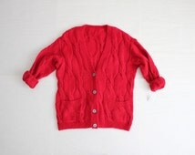 red mohair cardigan / cardigan sweater / fuzzy red sweater