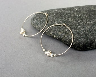 Sterling Silver Hoops Beaded Hoop Earrings Everyday Silver Earrings Sterling Silver Hoop Earrings Small Silver Hoop Earrings Silver Earrings