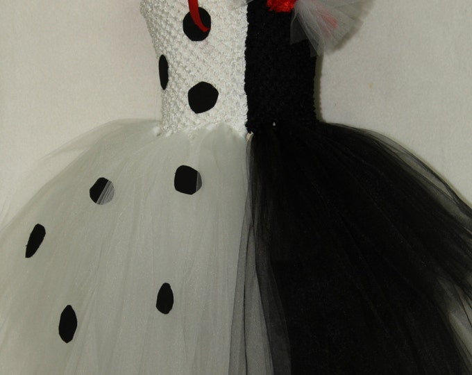 Halloween costume, Cruella Deville costume, Dalmatian costume, Black and White Halloween dress,Girl Halloween tutu dress,Disney costume