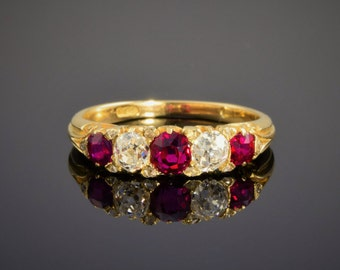 Vintage ruby and diamond engagement ring, circa 1940.