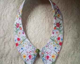 Handmade, vintage, pink, white ,Floral, detachable collar with button.