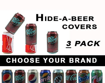 3 PACK Hide A Beer Can Soda Covers Camo Wrap Sleeve Disguise Drinking Game Golf Boating Fishing Tailgating Pool