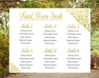 Wedding guest list printable Tableau de mariage Wedding seats Reception seating Reception plan DIY seating chart poster Guest chart card