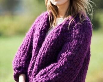 Chunky Knit Cardigan. Bulky yarn summer knit sweater. Giant knitting jacket. Super chunky yarn sweater. Big yarn casual knitwear for her.