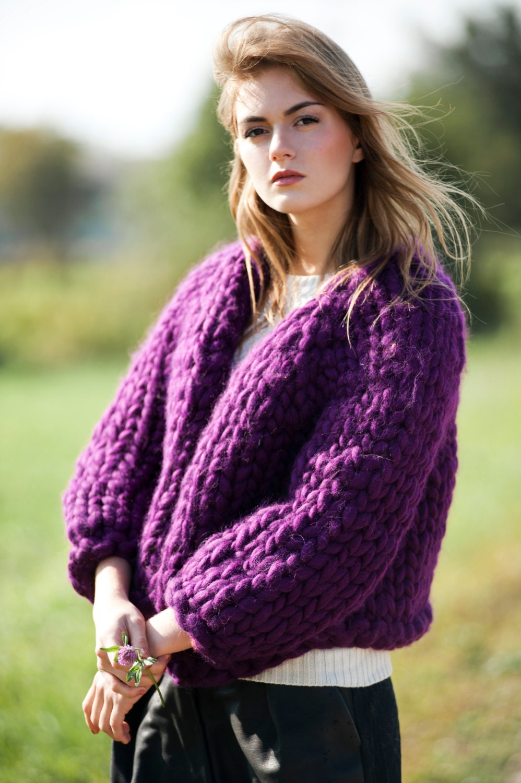 Knitting Summer Sweater : Chunky knit cardigan bulky yarn summer sweater giant
