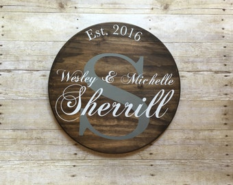 Family established sign, newlywed last name sign, housewarming gift, round last name sign, wood established family sign