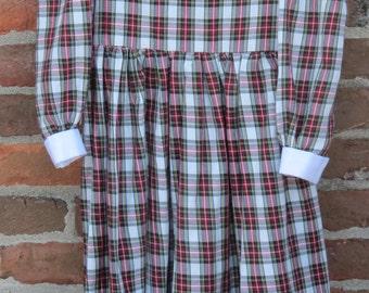 Girl's plaid dress, chirstmas outfit, hunter plaid, ivory plaid